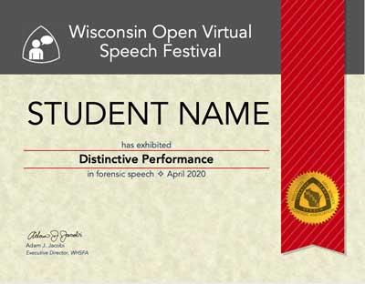 Distinctive Performance Certificate