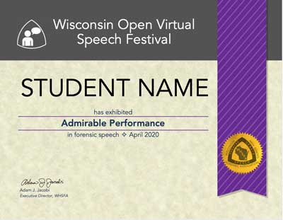 Admirable Performance Certificate