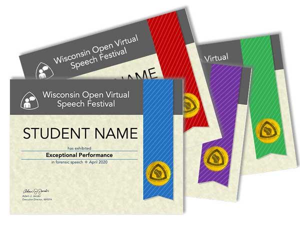 Online Virtual Speech Festival Certificates